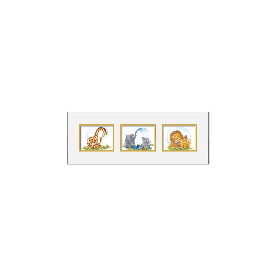 Childrens and Kids Room Wall Art and Nursery Wall Decor Jungle Art, Matted 3 Print Collection , Double Mat / Gold Accent