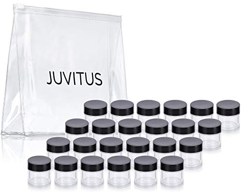 Clear Thick Wall Acrylic Travel Refillable Pot Container Jar - .25 oz (24 pack) + Travel Bag for Samples, Balms, Makeup and Cosmetics, Salves, Airtight