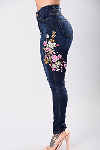 Aderenti Strappati Jeans Fit Fanvans Blu Tratto Ricamati Donna Slim Pantaloni v47x8