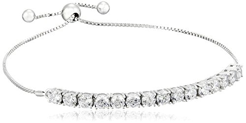 925 Sterling SilverRound AAA Cubic Zirconia Adjustable Slider Bracelet (3 (Adjustable Sliders)