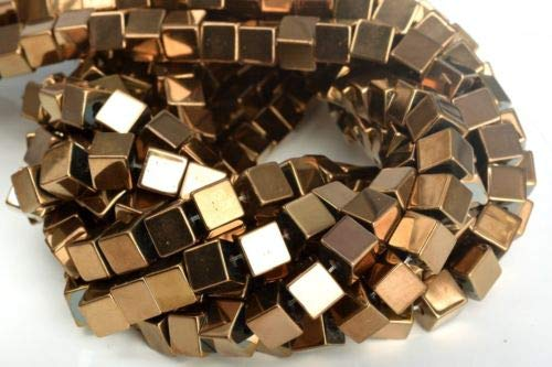 10mm Rose Gold Hematite Cube Grade Natural Gemstone Loose Beads 7.5'' Crafting Key Chain Bracelet Necklace Jewelry Accessories Pendants - Lee Pearl Bracelets