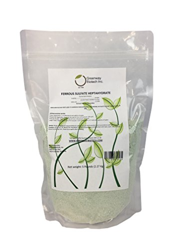 "Ferrous Sulfate Heptahydrate 20% Iron (Fe) 12% Sulfur (S) 100% Water Soluble Powder ""Greenway Biotech Brand"" 5 Pounds"
