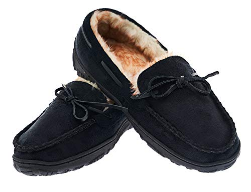 Men's Moccasin Slippers Warm Comfortable Memory Foam Plush Lining Anti Slip Indoor Outdoor Driving Loafers Shoes (12 M US/Pls Order 1-1.5 Size up, Black)