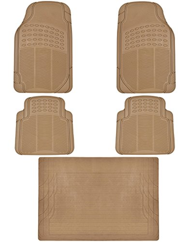 Beige Rear Mat - Heavy Duty 5pc Front & Rear Rubber Mats w/ Trunk Liner - All Weather Protection - Universal Car Truck SUV - Beige