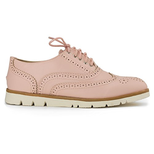 RF ROOM OF FASHION Women's Wing Tip Saddle Lace up Platform Oxford Flats - Trendy Flatform Shoes Pink (8.5) by RF ROOM OF FASHION (Image #1)