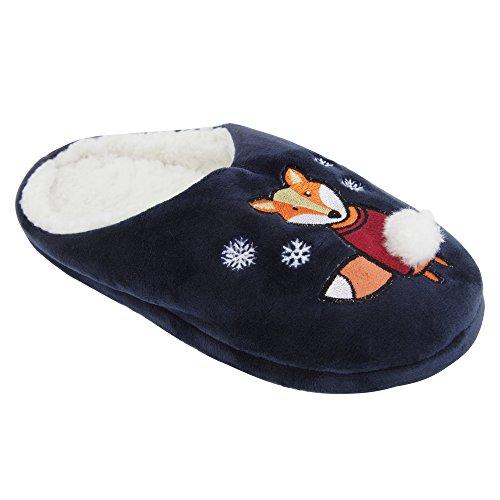 Zapatillas de estar por casa abiertas con diseño animal y navideño para mujer Azul marino