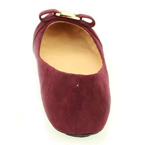 Frau Damen Abend Casual Komfort Ballerinas Sandale Pumpe Gericht Schuhe Größe (Schwarz, Maroon, Taupe) Maroon