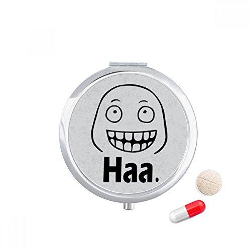 Giggle Black Cute Chat Emoji Pattern Travel Pocket Pill case Medicine Drug Storage Box Dispenser Mirror Gift