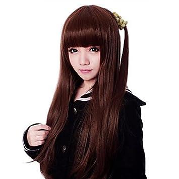 Cremallera japonesa marrón 71 cm largo recto clásico Lolita peluca