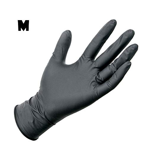 OWMEOT Wear - Nitrile Disposable Gloves, Powder Free, Latex Free, Textured - 10 PCS Black (M)