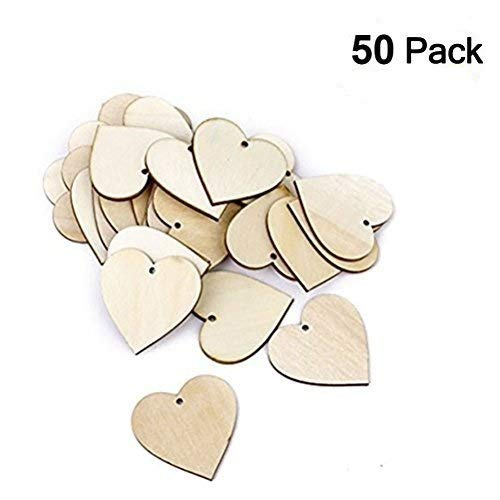 OULII 40mm Blank Heart Wood Slices Discs for DIY Crafts Embellishments for Valentine's Day gift DIY, Pack of 50 (Wood Color) -