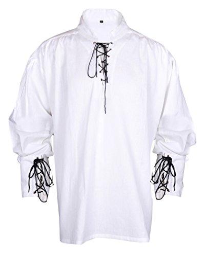 [Pirate Renaissance Casual Summer Hippie Shirt Medieval Men Costume White Color Large Size] (Medieval Man Costume)