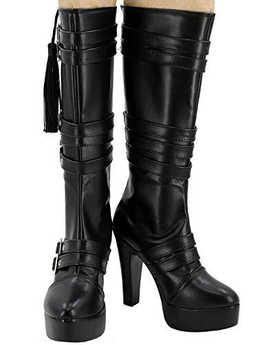 GOTEDDY Women Iris Cosplay Knee High Boots Heel Black Leather Zip Platform Shoes -