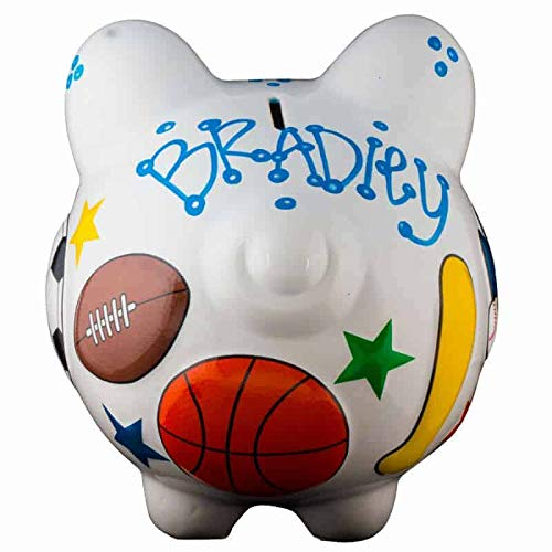 Sports Piggy Bank - Large - (Personalized & Custom With Name And Year) (First Financial Toy For Teaching Boys & Girls About Saving Money) (Perfect Unique Gift Idea For Babys 1st Birthday)