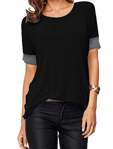 Cotton Short Sleeve Top Blouse (Sarin Mathews Women's Casual Round Neck Loose Fit Short Sleeve T-Shirt Blouse Tops Black L)