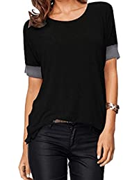 Sarin Mathews Women's Casual Round Neck Loose Fit Short...