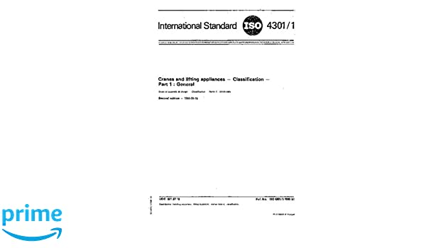 Iso 4301-1:1986, cranes and lifting appliances classification.