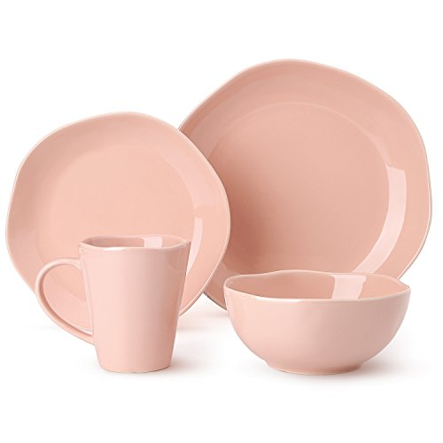 4-Piece Dinnerware Set Irregular Glaze Dish Set,Tableware Set Service for 1,PInk Pink Dinner Set