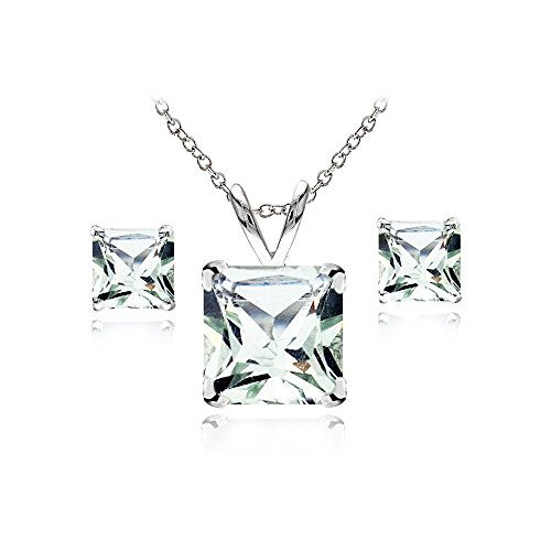 - GemStar USA Sterling Silver Green Amethyst Square Solitaire Necklace and Stud Earrings Set