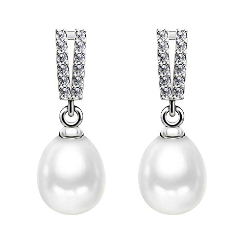 Sterling Silver Studs Teardrop White Freshwater Cultured Pearl Earrings Elegant Dangling Earring Stud