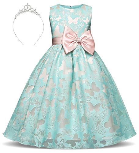 Girls Princess Dress Embroidered Butterflies Tulle Bowknot Belt with Accessories Crown Age of 5-6 Years(Green)]()