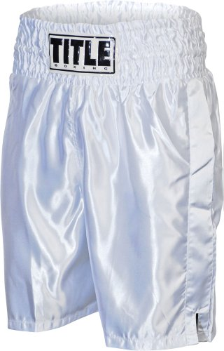 TITLE Classic Stock Boxing Trunks, White, Small