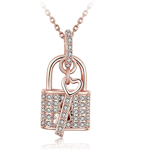 - MUZHE Fashion Charm Silver Austrian Crystals Lock Key Heart Pendant Necklace for Women Girl Jewelry Valentine's Gift (Gold)
