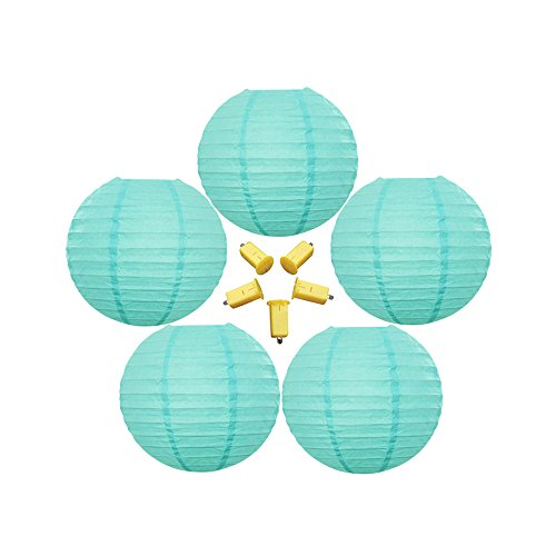 Neo-LOONS-5-Pack-8-Inch-Tiffany-Blue-Round-ChineseJapanese-Paper-Lanterns-Metal-Framed-Hanging-Lanterns-with-LED-Lights-For-Home-Decor-Parties-Weddings-and-DIY