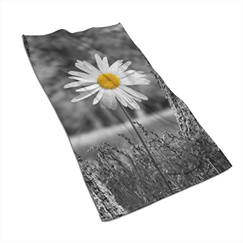 Fleavmei 27.517.5in Towels Hand Black White Yellow Daisy Flower Soft & Absorbent For For Bathroom, Kitchen, Home Hotel Spa Or - Single Daisy White