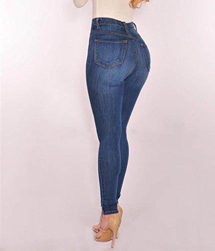 Jeans Denim Alta Skinny Azzurro Moda Dooxi Matita Pantaloni Casuale Donna Stretch Vita WnzzPxv