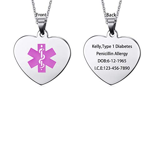 LMXXV Free Customize Medical Alert ID Jewelry Heart Shape Stainless Steel ID Tag Pendant Necklace for Child Adult