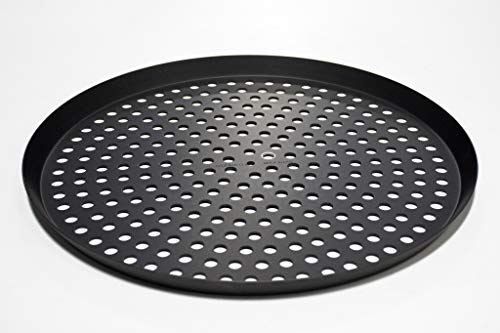Lloyd Pans Perforated Pizza Cutter Pan, Pre-Seasoned PSTK, Anodized Aluminum, 14 inch by .75 inch deep