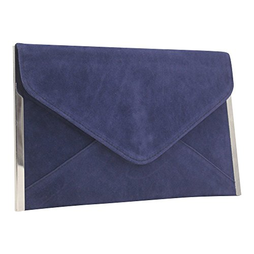 Suede Navy Blue Evening Handbag Bag Envelope Faux Clutch Shoulder Wocharm Party Womens Bag wqIaPa