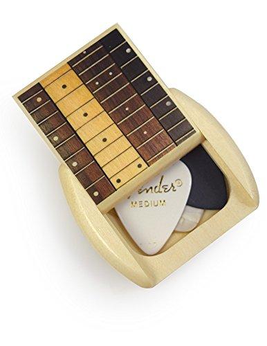 Modern Artisans Guitar Pick Caddy Box, American Made Aspen Wood with 4 Picks