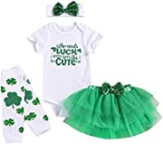 Amberetech Newborn Baby Girl St. Patrick's Day Skirt Set Who Needs Luck When You are This Cute Bodysuit