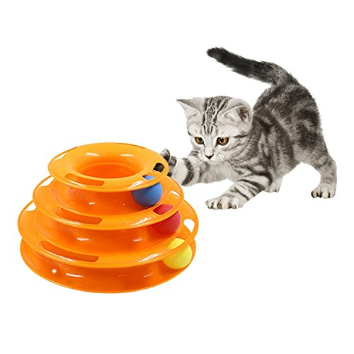 Kangben Tower of Tracks Ball and Track Interactive Toy for Cats Fun Cat Game Intelligence Triple Play Disc Cat Toy ()