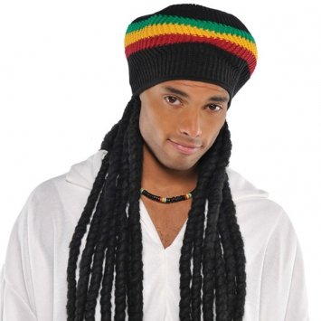 Buffalo Soldier Rasta Hat with Dreads Costume Accessory