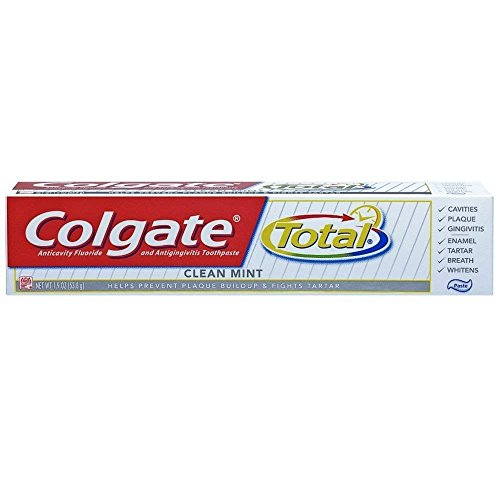 Colgate Total Fluoride Toothpaste, Clean Mint, Travel Size, TSA Approved 1.9oz (Packs of 6) by Colgate (Image #1)