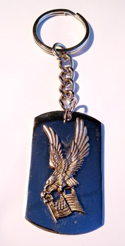 Soaring Eagle USA American Flag Patriotic Pewter Emblem Logo Symbols - Key Ring Chain Metal