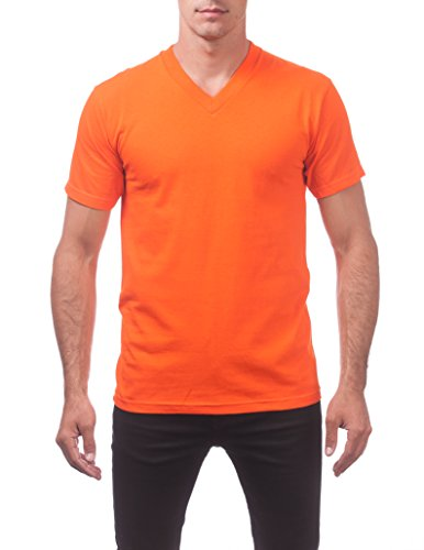 Pro Club Men's Comfort Short Sleeve V-Neck T-Shirt, Orange Tangerine, 4X-Large