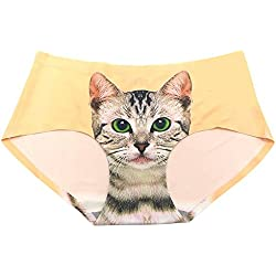 Bluelans® Women's Smooth Seamless Lingerie Sexy Cat Printed Hipster Panties Briefs (Yellow)