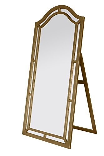Iconic Home Berlin Floor Mirror Free Standing Satin Finish, Traditional, Gold (Mirror Full Length Gold)