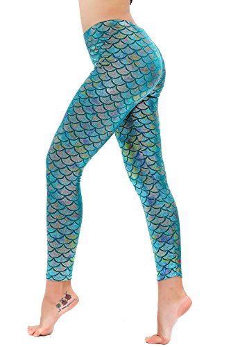 Diamond keep it Women's Mermaid Fish Scale Printing Full Length Leggings (X-Large, Baby Blue) -