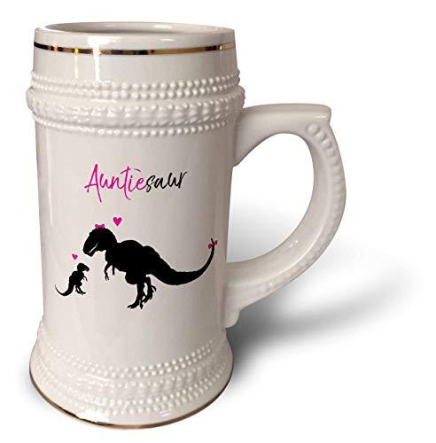 3dRose InspirationzStore - Dinosaur Designs - Auntiesaur Aunt Auntie dinosaur hot pink and black cute T-Rex baby kid - 22oz Stein Mug (stn_316868_1)