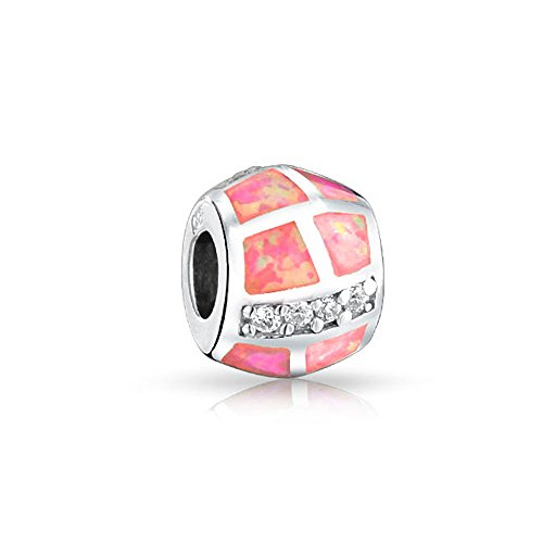Geometric CZ Pink Created Opal Barrel Charm Bead For Women 925 Sterling Silver For European Bracelet October Birthstone ()