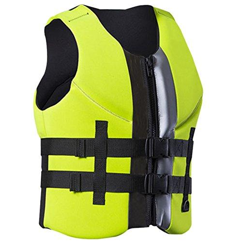 ZZ Lighting Neoprene Life Jacket Vest Waterski Wetsuit For Children And Adult With Zipper(Green,S)