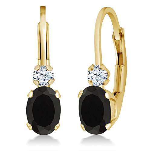 (Gem Stone King 0.86 Ct Oval Black Onyx White Created Sapphire 14K Yellow Gold Earrings)