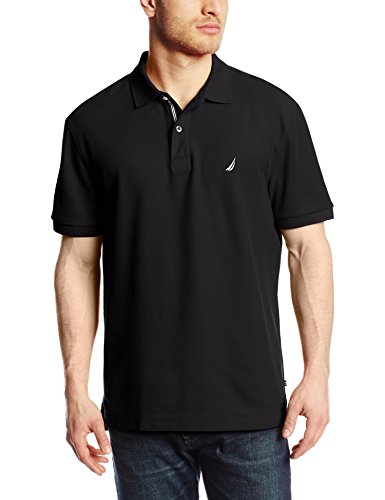 Nautica Men's Short Sleeve Solid Deck Polo Shirt, True Black, X-Large