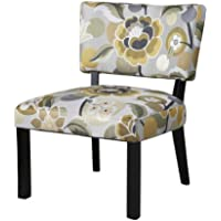 Powell Furniture Floral Accent Chair, Yellow/Gray