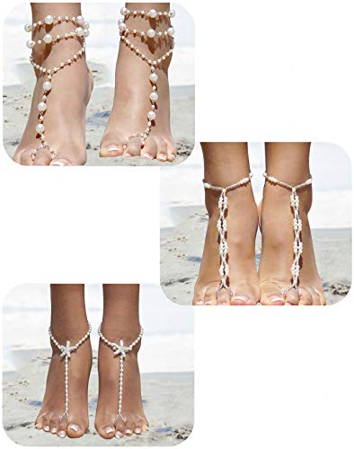 FIBO STEEL 3 Pairs Ankle Bracelets for Women Girls Barefoot Sandal Anklet Beach Foot Jewelry